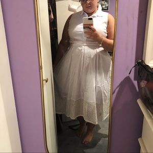 Eloquii Dresses - ELOQUII Linen Button Down Collared Eyelet Dress